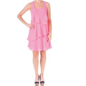 👗 Shoshanna Crepe Racerback Tiered Dress